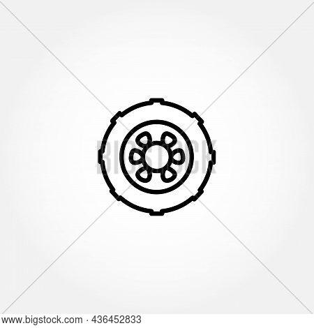 Car Wheel Line Icon. Wheel Isolated Line Icon