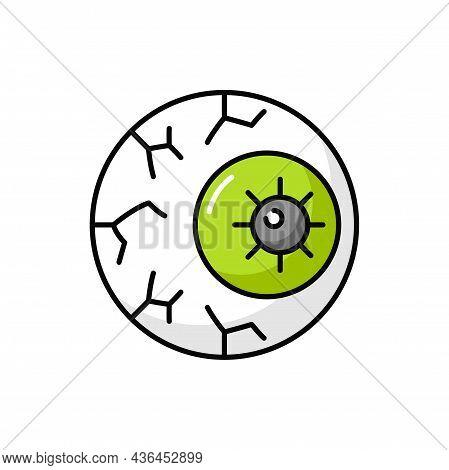 Spooky Eyeball Caramel Candy Dead Eye Outline Icon. Vector Trick Or Treat Dessert. Bonbon, Scary Hum