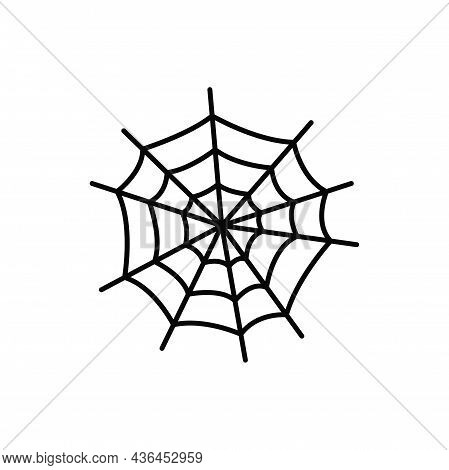 Spider Net, Halloween Holiday Symbol Cobweb Isolated Thin Line Icon. Vector Tissue Spiders Web, Roun