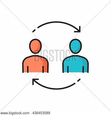 Business People Communicate Brainstorming Exchanging Information Together Isolated Color Line Icon.