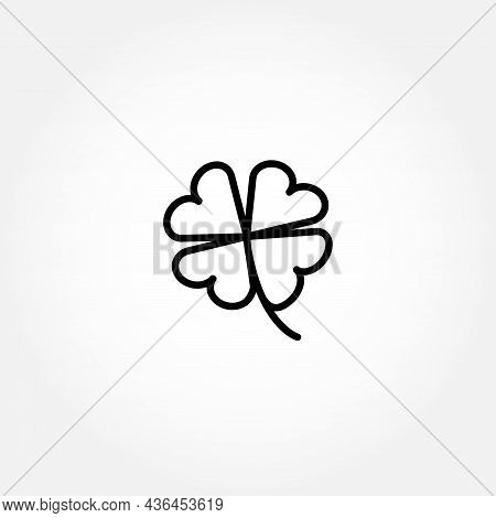 Four Leaf Clover Line Icon. Four Leaf Clover Isolated Line Icon
