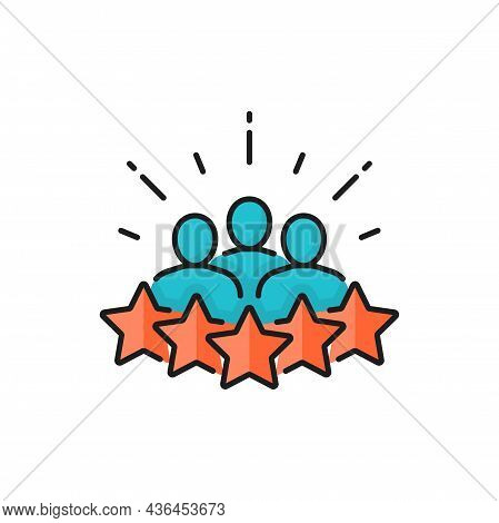 5 Star Award, Cooperation And Business Recruitment Isolated Line Icon. Vector Customers Meeting, Rec