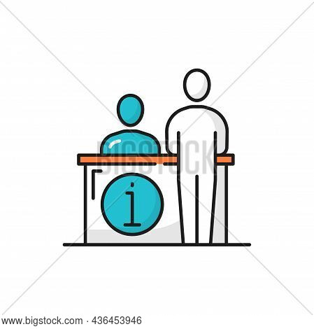Receptionist Support Center Worker At Help Desk Isolated Color Line Icon. Vector Computer Operator R