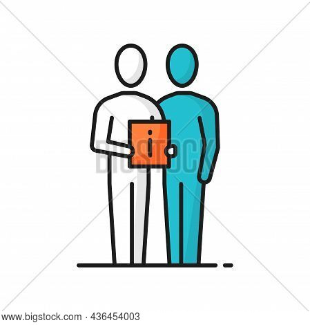 Support Center Worker Help Assist Client Customer Isolated Color Line Icon. Vector Person Assistant