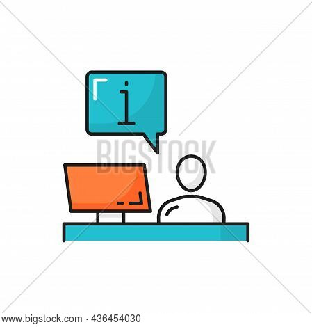 Check In Registration Table, Assistant, Man Sitting At Information Helpdesk Isolated Customer Suppor