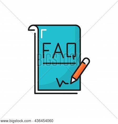 Help Book With Frequently Asked Questions Pen Note Isolated Color Line Icon. Vector Interrogation Ma