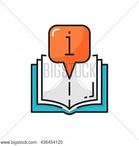 Book Or Catalogue With Information Sign Isolated Color Line Icon. Vector Textbook Or Brochure With E