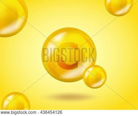 3d Vitamin Drop C Ascorbic Acid Pill Capsule. Realistic C Ascorbic Acid Vitamin Complex Design Illus