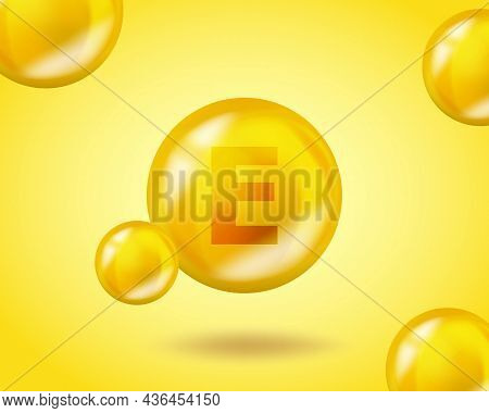 3d Vitamin Drop E Tocotrienol Pill Capsule. Realistic E Tocotrienol Vitamin Complex Design Illustrat