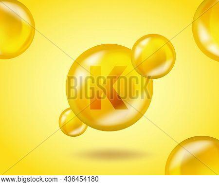 3d Vitamin Drop K Phylloquinone Pill Capsule. Realistic K Phylloquinone Design Vitamin Complex Illus