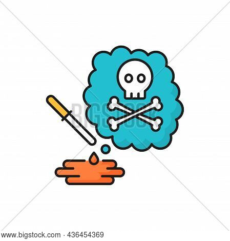 Chemical Danger, Toxic Weapon And Death, Poison Drops Isolated Line Icon. Vector Skull With Crossed