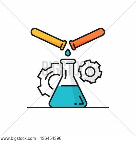 Test Tubes And Beaker, Lab Experiment In Genetics, Rotating Gear Cogwheel Mechanism Isolated Line Ic