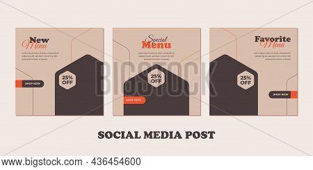 Food Menu Banner Social Media Post. Templates For Promotions On The Food Menu. Set Of Social Media S