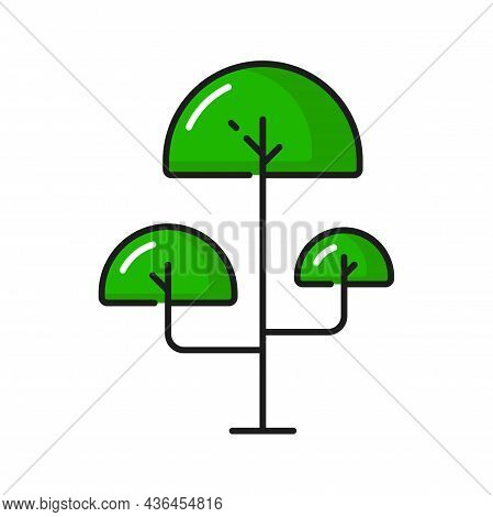 Tree Landscape Scenery Decor Element Isolated Linear Funny Kids Plant Icon. Vector Fairy Tree With T