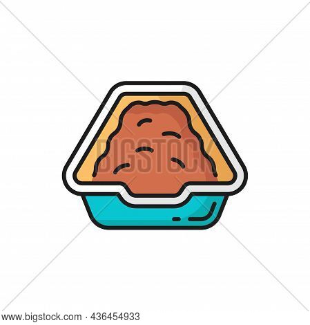 Dog Or Cat Poops And Urinates Bowl Isolated Outline Icon. Vector Puppy Or Kitten Toilet Package, Dom