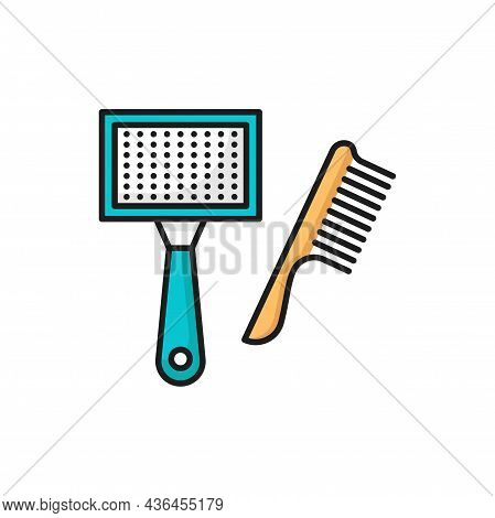 Pet Grooming Brush Isolated Dogs And Cats Vet Care Accessory Outline Icon. Vector Canine Hairbrush D