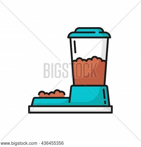 Cat Or Dogs Automatic Feeder Isolated Pets Food Bowl Outline Icon. Vector Domestic Animals Health An