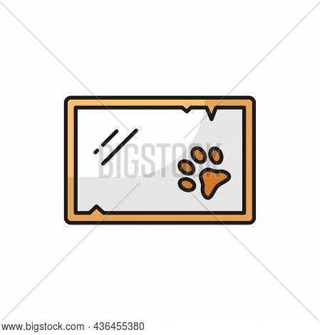 Pet Cushion Pillow Or Carpet With Paw Print Isolated Animals Home Bed Icon. Vector Domestic Animals