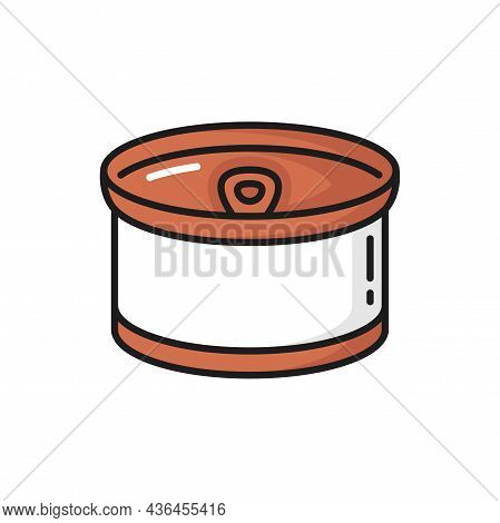 Metal Can Of Beef Pork Meat Isolated Feline Animals Food. Vector Cats Treat, Tinned Meat Steaks Of B
