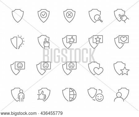 Set Of Defense Line Icons. Shield, Security, Protective, Protection, Safe And More.