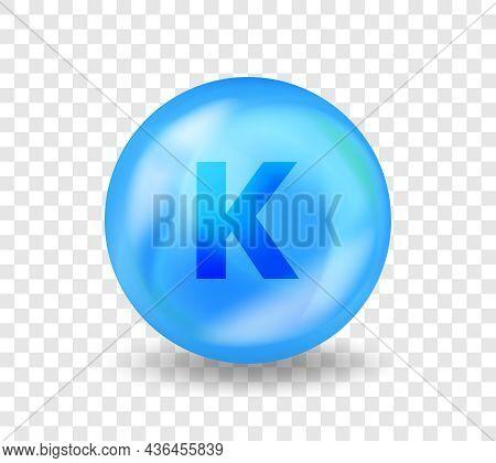 Mineral K Potassium. 3d Vitamin Complex Illustration Concept. Blue Drug Nutrition Design For Beauty,