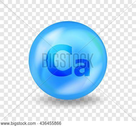 Mineral Ca Calcium. 3d Vitamin Complex Illustration Concept. Blue Drug Nutrition Design For Beauty,