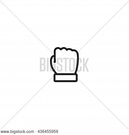 Fist Line Icon On White Background. Fist Line Icon On White Background.