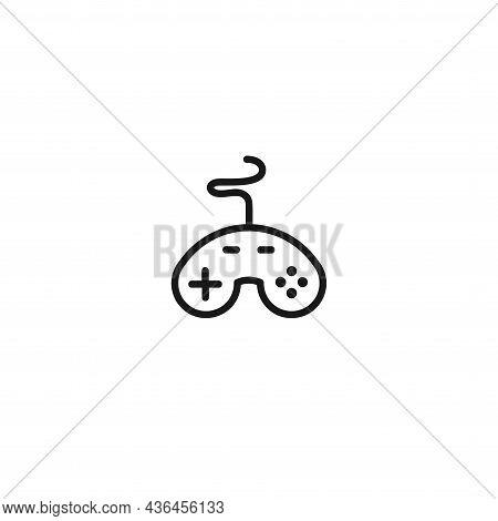 Joystick Isolated Line Icon. Gamepad Icon On White Background