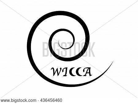 Spiral Wicca Logo, Black Line Witchcraft Sign Magic Print With Text, Vector Isolated On A White Back