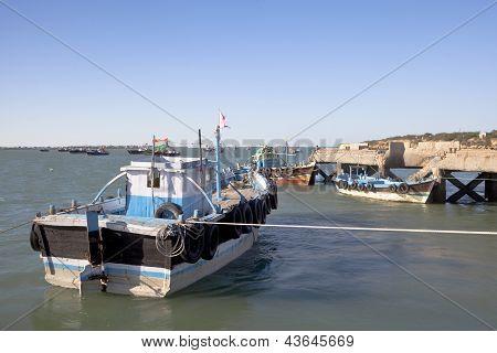 Boats At Dusk Moored In Dwarka Harbor