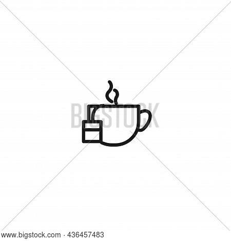 Tea Bag, Hot Cup Of Tea Line Icon. Tea Bag, Hot Cup Of Tea Line Icon.