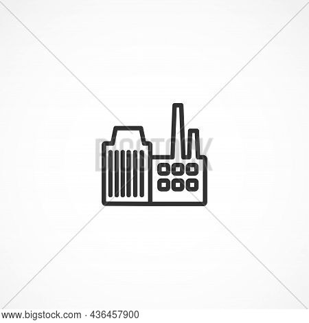 Factory Vector Line Icon On White Background