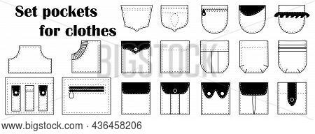 Patch Pocket Templates Set For Clothes, Shirts, Cloths, Pants, Coats, Jackets. Vector Isolated On Wh