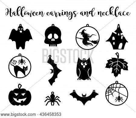 Set Halloween Earrings Jewellery Laser Cut. Witch Earrings, Spider Web Earrings, Vector Templates Fo