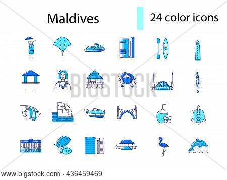 Maldives Outline Icons Set. Beach Resort. Bungalow And Palm. Capital Male Buildings. Marine Life. Co