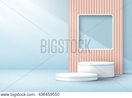 3d Rendering Modern White Cylinder Podium With Window Backdrop Light And Shadow In Soft Blue Minimal