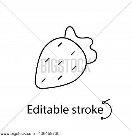 Strawberry Outline Icon. Sex Shop Logotype. Customizable Linear Contour Symbol. Editable Stroke. Iso