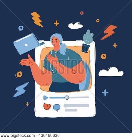 Vector Illustration Of Video Blogger On Her Video In Social Media. Quarantine, Stay At Home Over Dar