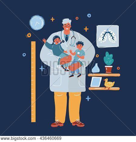 Vector Illustration Of Checkup At The Childrens Doctor. Pediatrician Examines Kids Over Dark Backrou