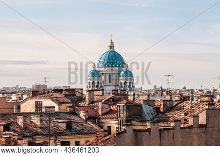 Aerial Photo Of Trinity Cathedral Towering Over The Roofs Of Residential Buildings. Cityscape Of Sai