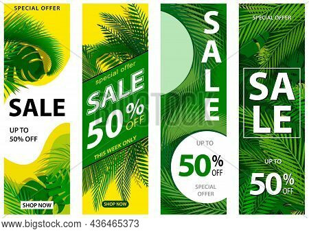 Set Of 4 Sale Banners With Tropical Leaves - Summer Sale With Discount And Tropical Palm Leaves In M