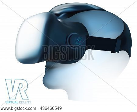 Virtual Reality Glasses Headset On Head Isolated On White Background - Detailed Illustration, Vector
