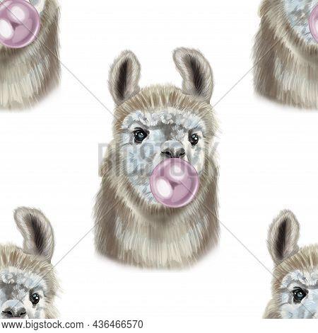 Alpacas Seamless Watercolor Pattern Chews Gum. Llama Portrait
