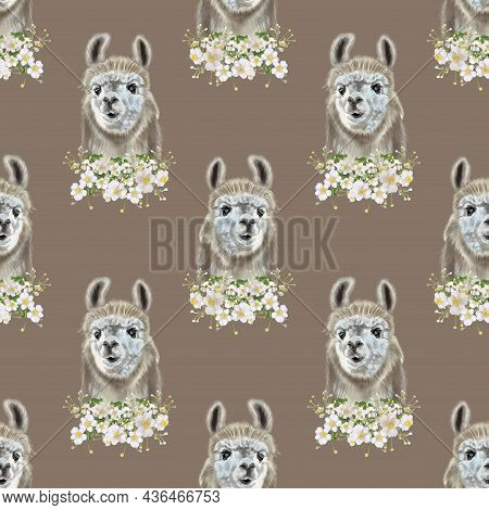 Watercolor Seamless Pattern Of Lama And Alpaca In Flowers