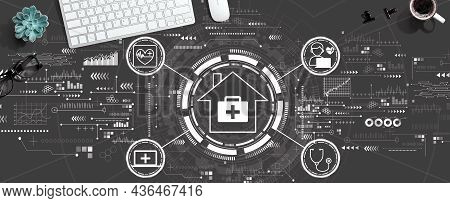 Telehealth Theme With A Computer Keyboard And A Mouse