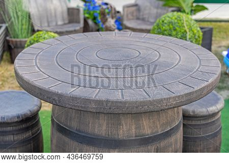 Vintage Style Plastic Garden Table Brown Barrel