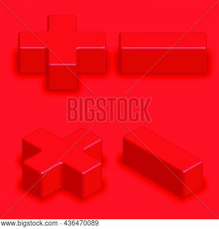 Mathematics Symbols Red Color 3d Creative Isometric Shape, Plus Minus Multiply Divide Set Math Signs