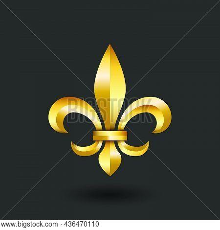 Golden Heraldic Lily 3d Logo, Gold Gradient Faceted Emblem Creative Design, Metallic Fleur-de-lys  F