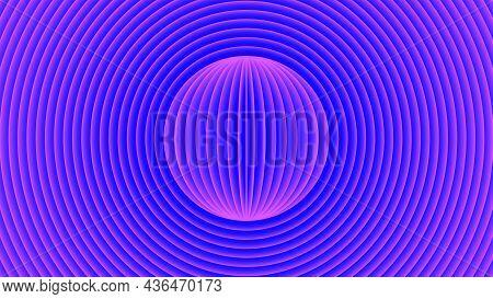 Cyberpunk Futuristic Background, Purple-blue Diverging Glowing Circles From The Center Of The Futuri
