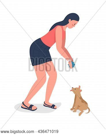 Woman With Adopted Puppy Semi Flat Color Vector Character. Standing Figure. Full Body Person On Whit